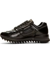 Alexander McQueen Black Leather Paneled Sneakers - Lyst