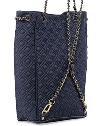 Tory Burch Fleming Quilted Denim Backpack - Lyst
