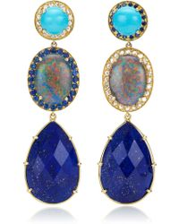 Andrea Fohrman Unique Turquoise Oval Australian Opal with Rosecut Diamonds Earrings - Lyst