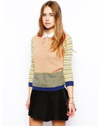 Asos Striped Collared Sweater - Lyst