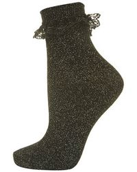 Topshop Lurex Trim Ankle Socks - Lyst