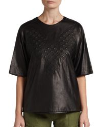 3.1 Phillip Lim Quilted Leather Phoenix Tee - Lyst