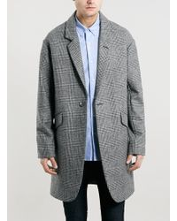 Topman Made in England Grey Check Coat - Lyst
