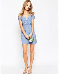 ASOS | Wedding Drape Cold Shoulder Mini Dress | Lyst