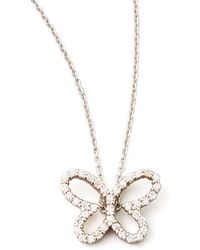 Roberto Coin 18K White Gold Diamond Butterfly Pendant Necklace - Lyst