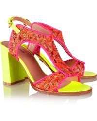 Markus Lupfer - Neon Leather And Brocade Sandals - Lyst