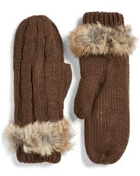 Love Token | Cable Knit Mittens With Genuine Rabbit Fur Trim | Lyst