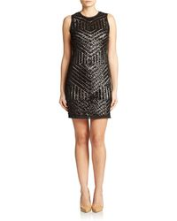 Vince Camuto Sequined Net Sheath - Lyst