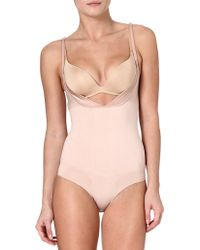 Spanx Slimmer Shine Openbust Body Rose Gold - Lyst