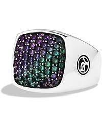 David Yurman Pavé Signet Ring with Color Change Garnets - Lyst