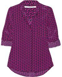 Diane Von Furstenberg Lorelei Washed-silk Blouse - Lyst