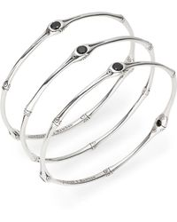 John Hardy Batu White Topaz Black Chalcedony  Sterling Silver Bracelet Set - Lyst