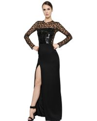 Alexander McQueen Sequin Embellished Crepe Satin Dress - Lyst