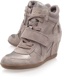 Ash Stone Bowie Suede and Metallic Hitop Wedge Trainers - Lyst