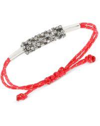 Steve Madden - Silvertone Crystal Macrame Friendship Bracelet - Lyst