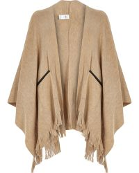 River Island Cream Fine Knitted Fringed Cape - Lyst