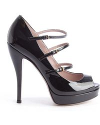 Gucci Black Patent Leather Multi-Strapped Platform Pumps - Lyst