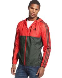 Adidas Full-Zip Essential Woven Jacket red - Lyst