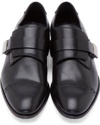 CALVIN KLEIN 205W39NYC - Black Leather Monk Strap Shoes - Lyst