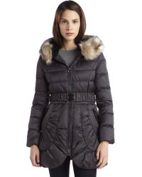 Laundry by Shelli Segal Slate Quilted Down Filled Ip Up Belted Faux Fur Coat - Lyst