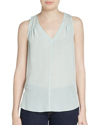 Rebecca Taylor Studded Silk Top - Lyst
