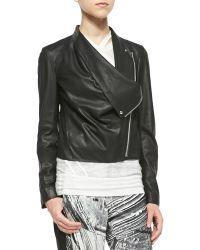 Helmut Lang Kiln Draped Leather Jacket - Lyst