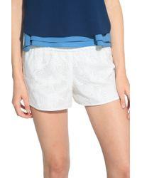 10 Crosby Derek Lam Floral Embroidered Boxer Shorts beige - Lyst