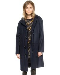 DKNY Hooded Toggle Coat  Royal Navy - Lyst