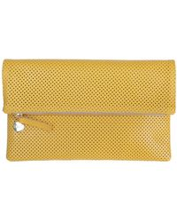 Clare V. Yellow Perforated Foldover Clutch - Lyst
