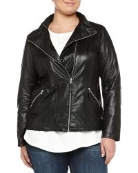 Marina Rinaldi Emma Perforated Leather Biker Jacket - Lyst