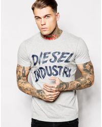 Diesel T-Shirt T-Aethalas Industry Logo Brush Print - Lyst