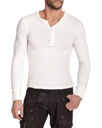 Ralph Lauren Black Label Ribbed Cotton Henley - Lyst