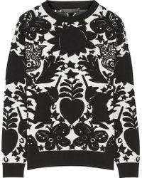 Alexander McQueen Jacquard Knit Wool Blend Sweater - Lyst