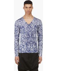 Alexander McQueen Navy and White Filigree Print V_neck Sweater - Lyst