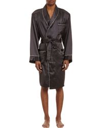 Zimmerli Piped Satin Wrap Robe - Lyst