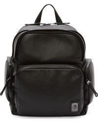 Diesel Black Leather Parakute Backpack - Lyst