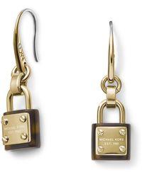 Michael Kors Padlock Drop Earrings Goldentortoise Goldtort - Lyst