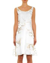 Honor Floral-Print Silk-Organza Dress - Lyst