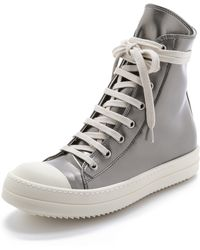 DRKSHDW by Rick Owens High Top Sneakers - Silver - Lyst