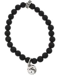 King Baby Studio Black Onyx Bead And Silver Mb Cross Button Bracelet - Lyst