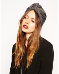 Asos Fine Rib Knitted Turban Hat - Lyst