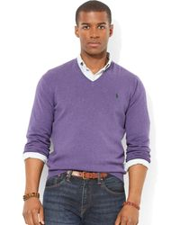 Ralph Lauren Polo Pima Cotton Vneck Sweater - Lyst