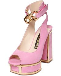 Kat Maconie 120Mm Suede Sandals With Chain Detail pink - Lyst