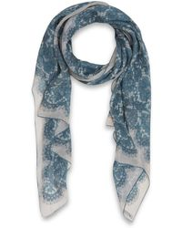 Valentino Light Blue Iconic Lace Print Silk Scarf - Lyst
