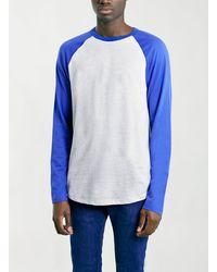 Topman Bluegrey Contrast Raglan Longsleeve T-shirt - Lyst