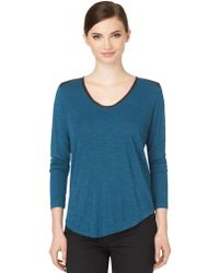 Calvin Klein Jeans Faux Leather Trimmed Slub Knit Top - Lyst