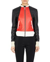 Paco Rabanne Zip-Front Leather Jacket red - Lyst