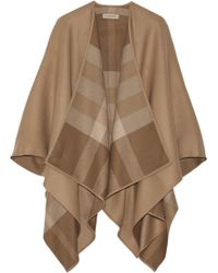 Burberry Brown Wool Cape - Lyst
