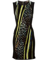 Roberto Cavalli Pleated Panel Fitted Dress - Lyst