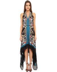 Versace Printed Halter Asymetrical Hem Gown black - Lyst